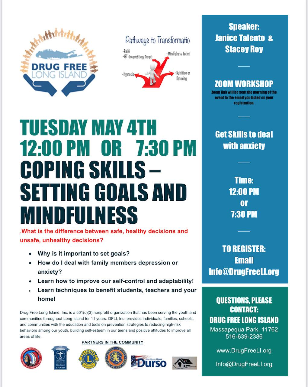 Coping Skills Workshop - Setting Goals and Mindfulness 12:00 PM Session