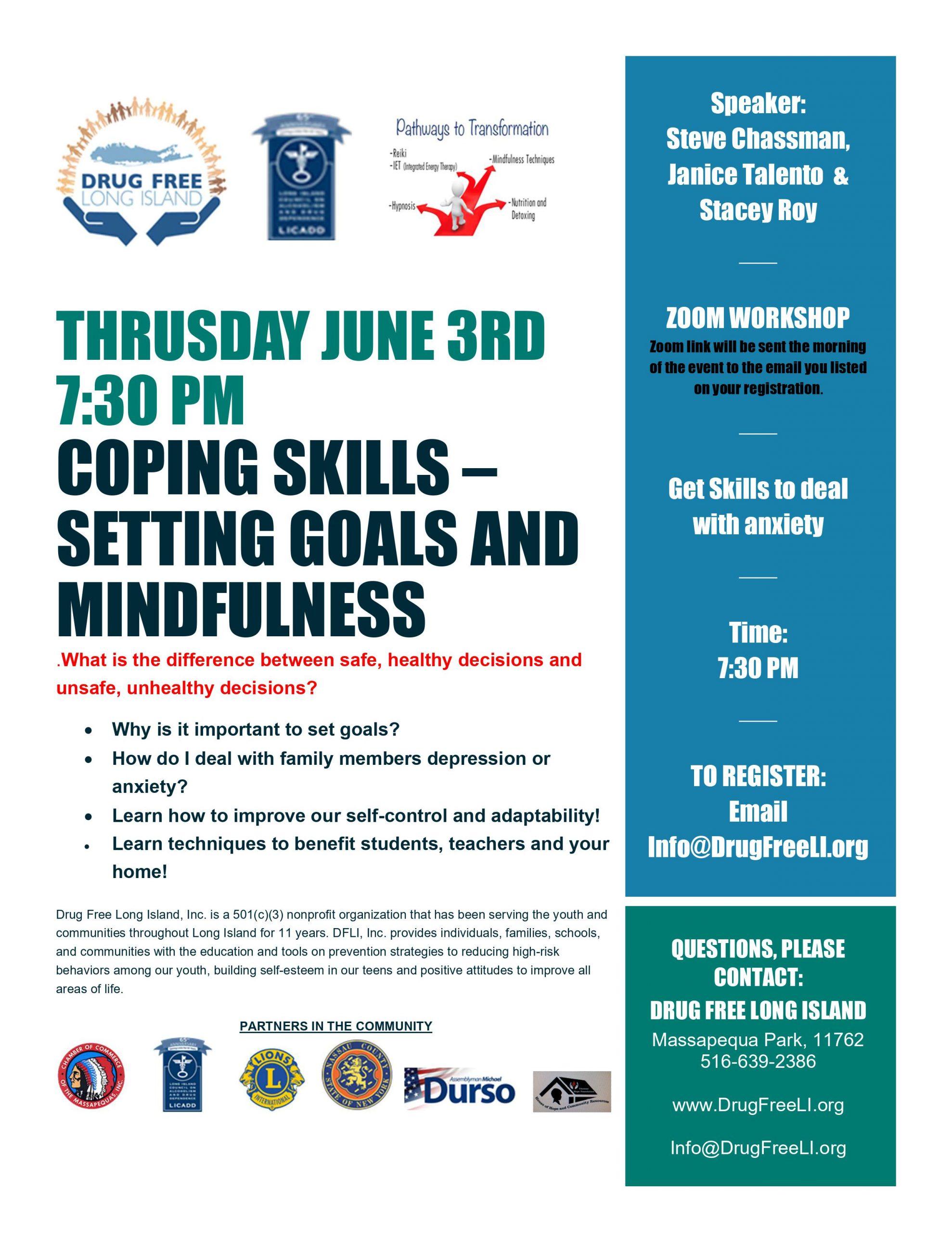 Coping Skills Workshop – Setting Goals and Mindfulness