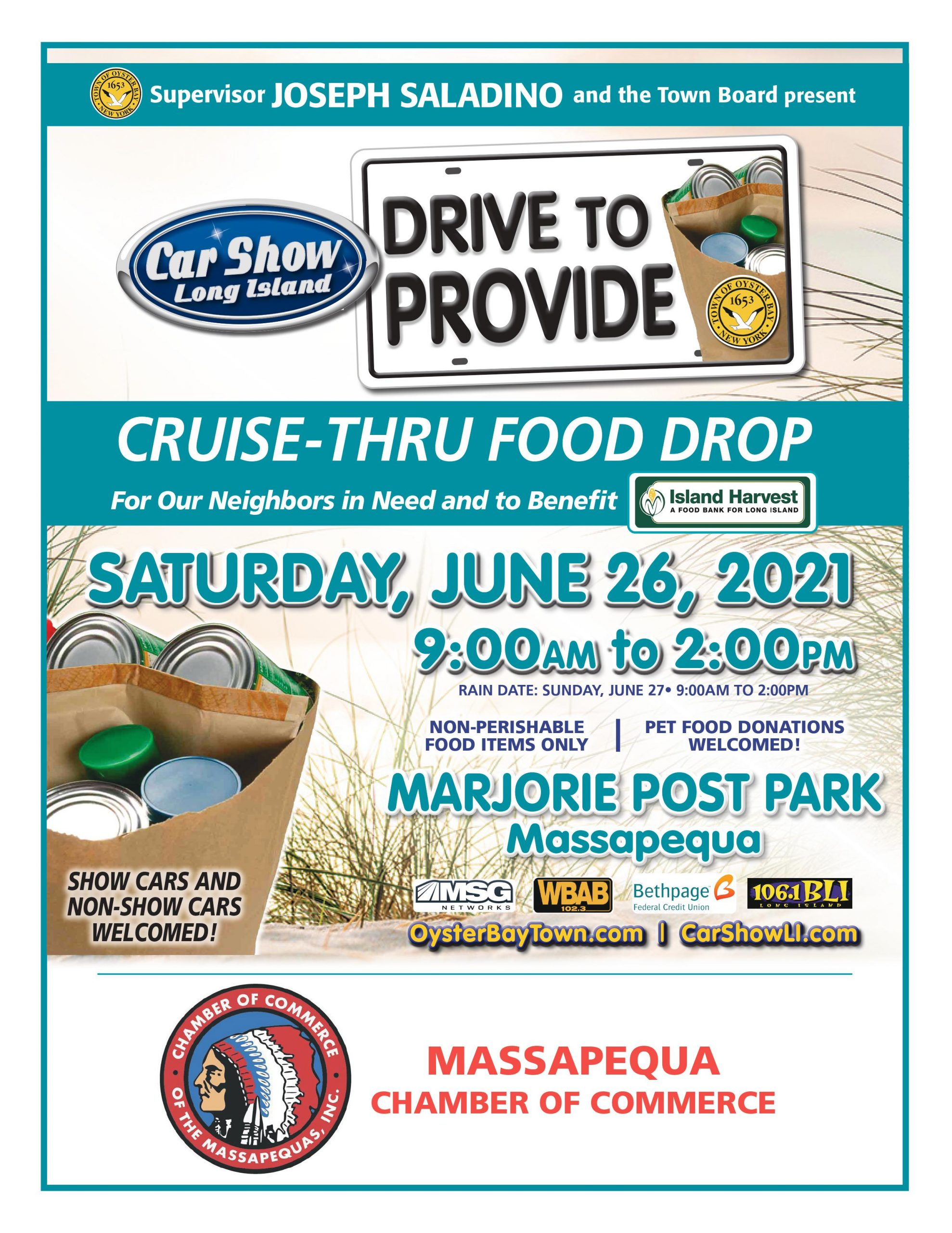 Town of Oyster Bay Drive to Provide / Car Show Long Island @ Marjorie Post Park in Massapequa