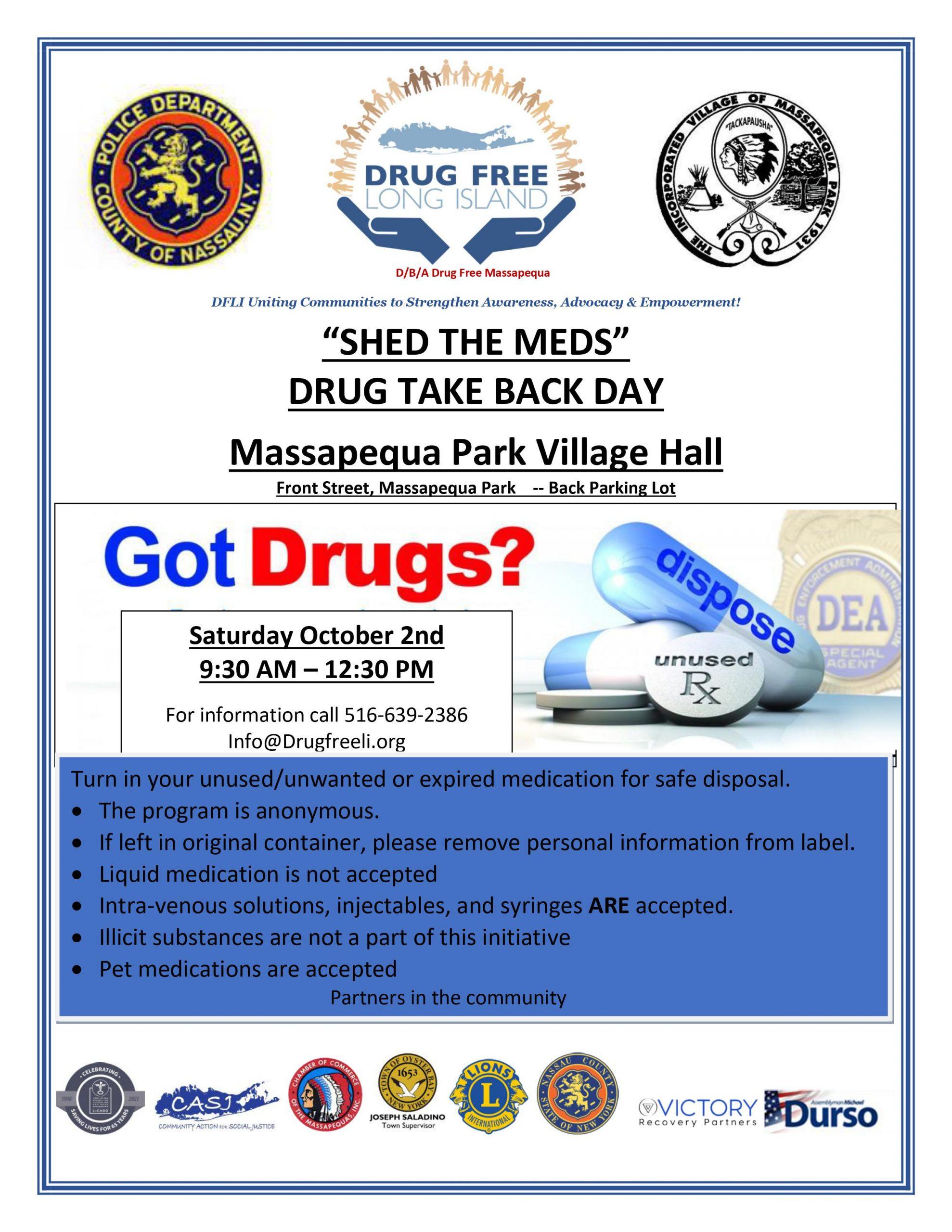 Shed the Meds - Drug Take-Back Day @ Massapequa Park Village Hall (Back Parking Lot)